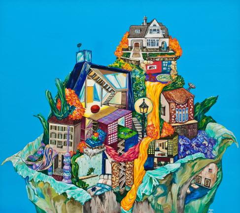 Sweet shelter-2  Gouache,Acrylic on Canvas  80X90cm  2012